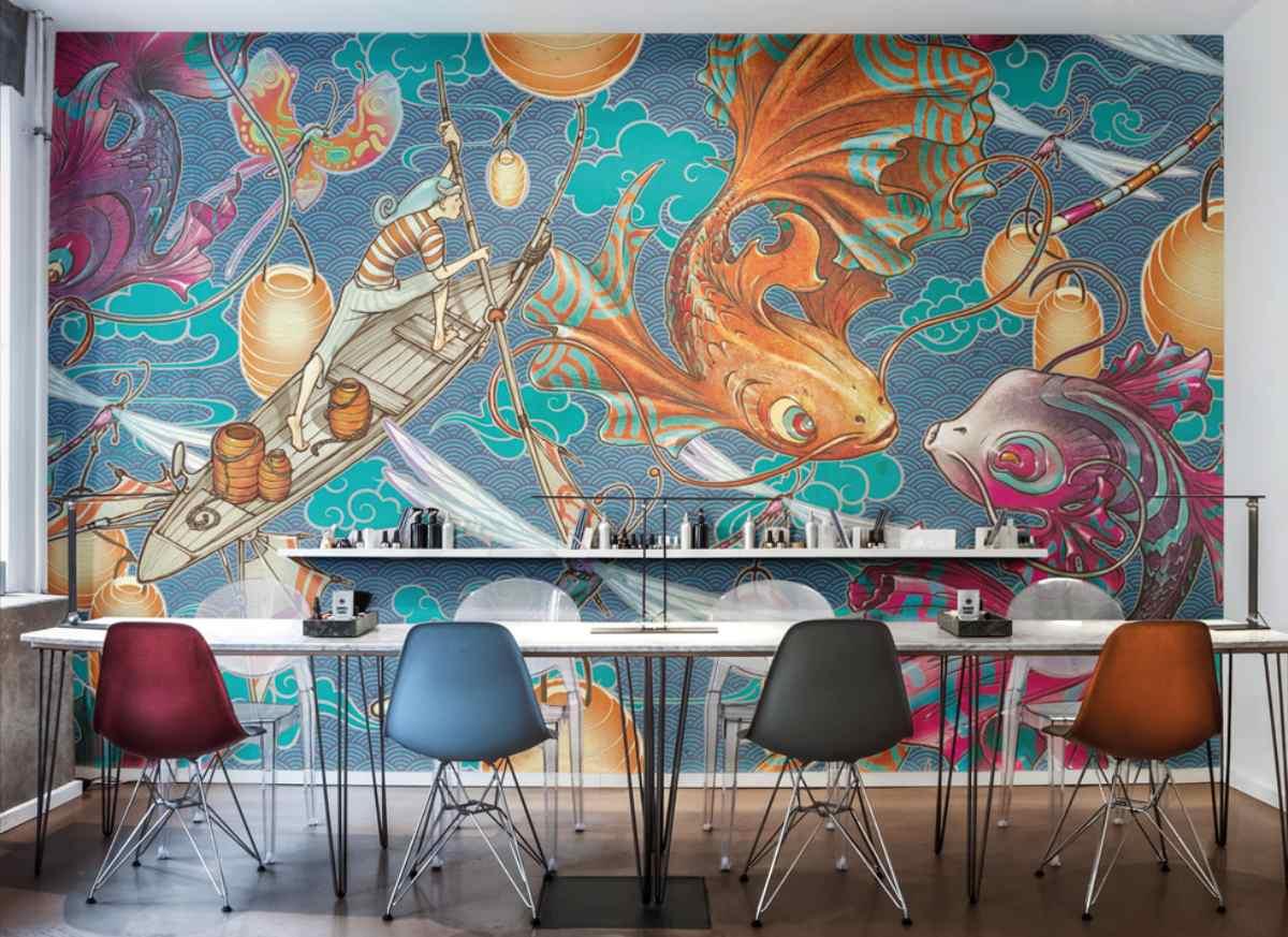 inkiostro bianco decorar con papel las paredes