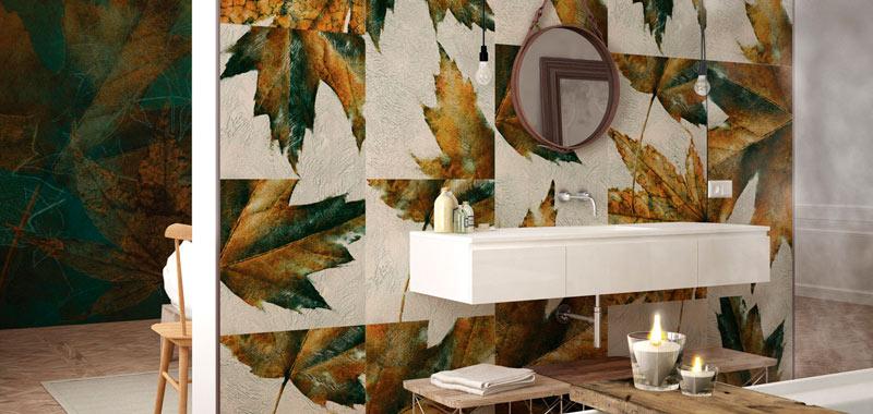 inkiostro bianco decorar con papel las paredes del baño